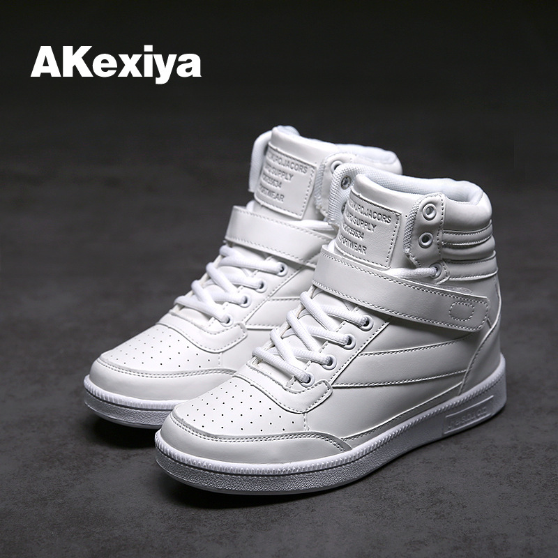 2017 Basketball shoes Harajuku leather patent leather bright women running shoes high help board sport shoes silver sneakers image
