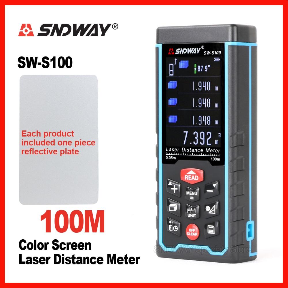все цены на SNDWAY Original Color Screen Laser Distance Meter Range Finder Rangefinder SW-S50m 70m 100 Tape Trena Ruler Angle Bulid Tool онлайн