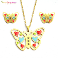 Yunkingdom colorful butterfly resin jewelry sets for women fashion  stainless steel pendant chain necklace earring set 622aee88ab26