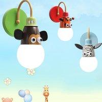 2018 NEW Cartoon Children LED Wall Lamp Monkey /Zebra/Giraffe Children Home Decor Bedroom Wall Night Lignt