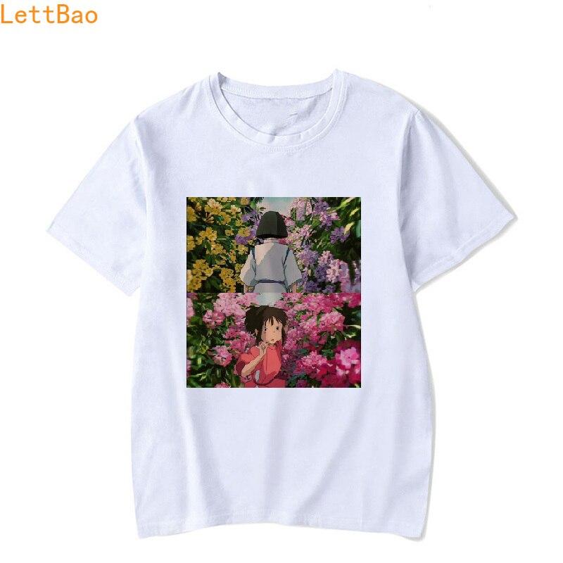 Ghibli Hayao Miyazaki Totoro Spirited Away T Shirt Women Chihiro Print Cotton Short Sleeve Custom T-Shirt Vogue Summer Tops