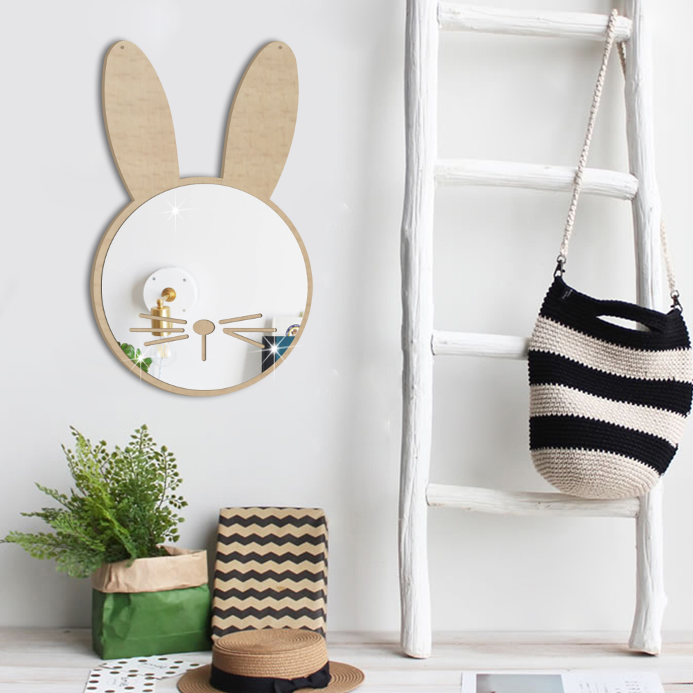 Hot Hanging Animals Rabbit Shaped 3D Mirror Wall Sticker Self Adhesive Waterproof DIY Art Decal for Livingroom Home Decoration