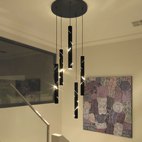 2018 Loft chandeliers Black engraving Iron body Bar Stair Living Room Lindsey adelman LED Hanging Chandelier Lighting Fixtures