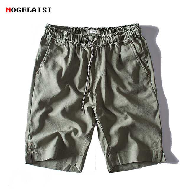 Brand linen shorts men summer Fashion solid Breathable 100% cotton linen shorts straight Breathable male casual shorts 1830