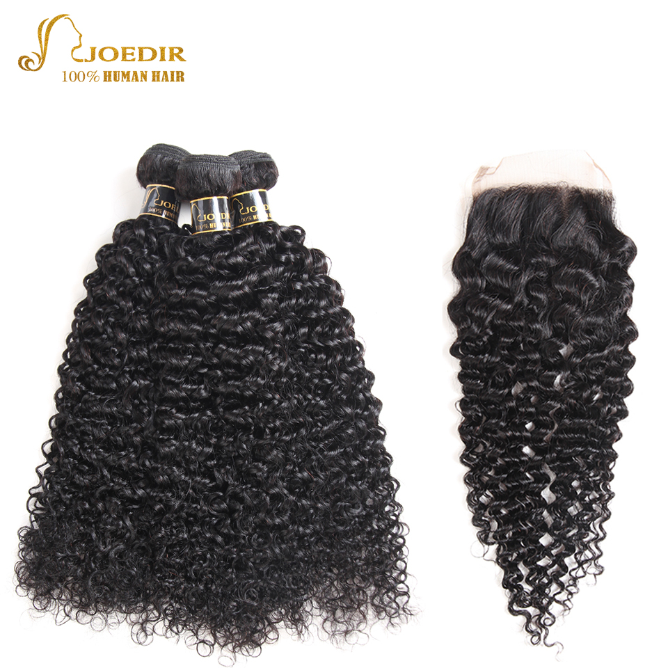 Brazilian Afro Kinky Curly Hair Bundles With Closure Human Hair Weave Bundles With Closure With Baby Hair Joedir Hair Non Remy