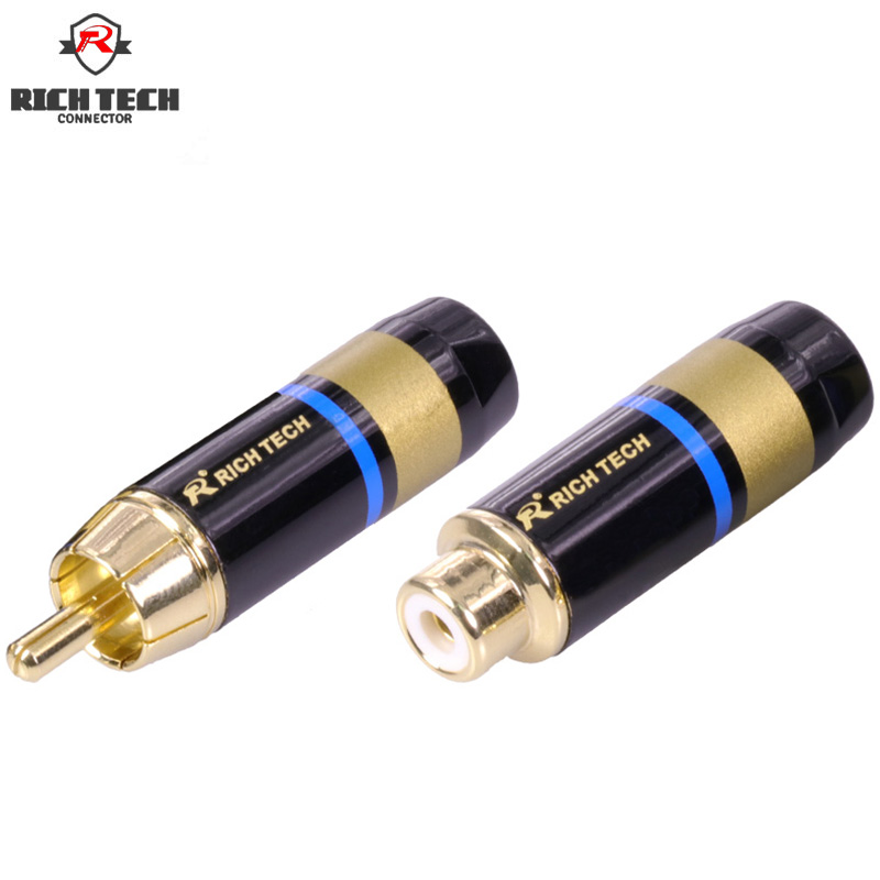 8pcs/4sets Excellent gold plating RCA connector RCA male plug jack + RCA female socket support 6mm cable Rich Tech 1pc adapter n plug male nickel plating to sma female gold plating jack rf connector straight