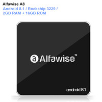 Alfawise A8 Smart TV BOX Android 8.1 Set Top Box Rockchip 3229 2GB RAM + 16GB ROM 2.4G WiFi 100Mbps Support 4K H.265