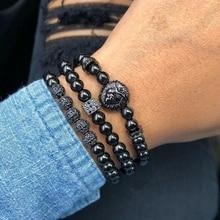 New Fashion Men Bracelets Set Charm Luxury Pave CZ Ball & black lion head 6mm beads bracelet Jewelry Male pulseras para hombre стоимость