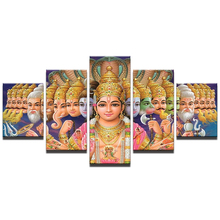 Hot Sales Framed 5 Panels Picture Indian Buddha series HD Canvas Print Painting Artwork Wall Art painting/11Y-ZT-15