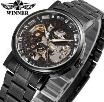 Reloj deportivo de acero inoxidable con carcasa de aleación negro completo y esqueleto de la mejor marca Winner