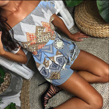 New Casual Women Halter Neck Rompers Short Jumpsuits Summer Sexy Off Shoulder Flower Printed One Piece Beach Playsuit