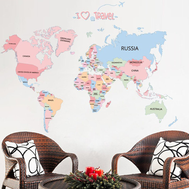 pink cartoon animals world map wall sticker for kids room baby