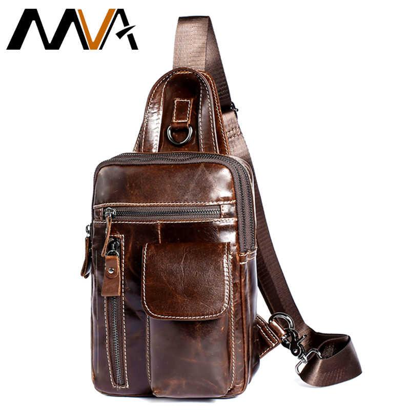 c4e71dad86bc MVA Для мужчин груди пакет из натуральной кожи плечевой ремень обратно сумки  кожаная дорожная Для мужчин