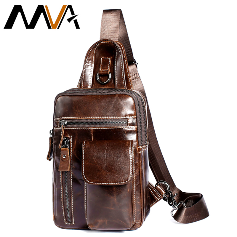 MVA Men Chest Pack Genuine Leather Shoulder Strap Back Bags Leather Travel Men Crossbody ...