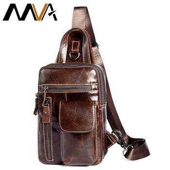 a19f9ae5f MVA hombres pecho Paquete de cuero genuino hombro correa trasera bolsas de  viaje de cuero de los hombres, bolso de mensajero Vintage ipad bolsa de  pecho