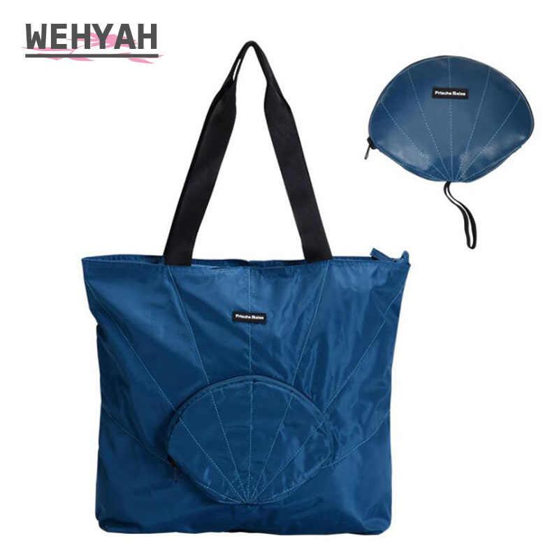 Wahyah 折りたたみショッピングバッグ再利用可能な食料品バッグシェル固体防水女性トートバッグ環境バッグトラベルアクセサリー ZY0125
