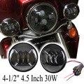 "2Pcs 4-1/2"" 4.5 Inch 30W LED Spot Fog Lights Lamp For Harley Davidson Motorcycle"