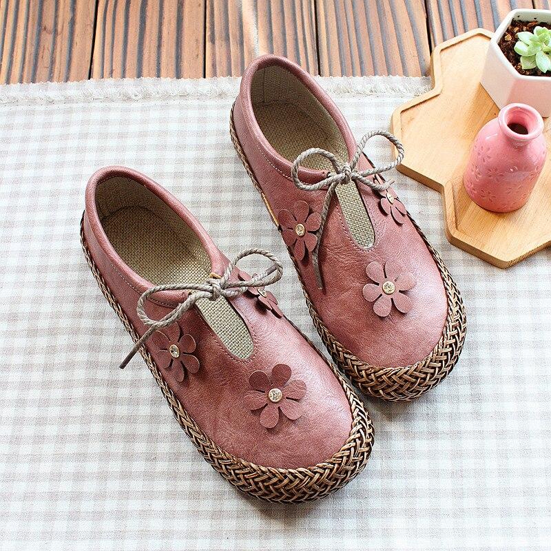 Confortable Japonais Simples Littéraire rose Plates Rétro Poupée Collège Tête Chaussures Cuir Vent vert Ronde Mou Beige Véritable marron Belle En Fond PIwqxn6PA