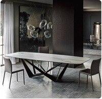 固体木製ダイニングルームセット家庭用家具ミニマル現代の大理石のダイニングテーブルと 6 椅子メサデ jantar muebles comedor -