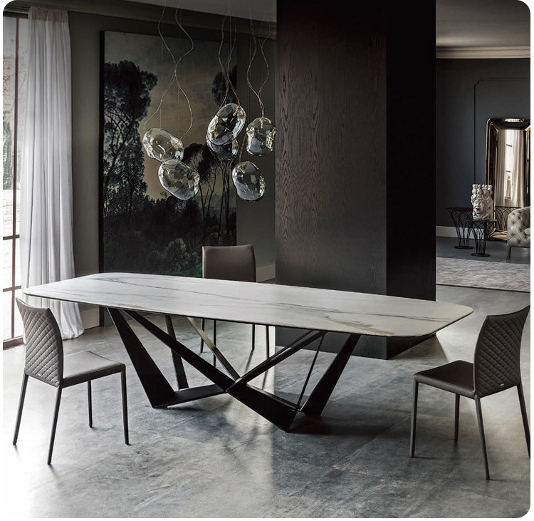 Stainless Steel Dining Room Set Home Rectangle Minimalist Modern Marble Dining Table And 6 Chairs Mesa De Jantar Muebles Comedor