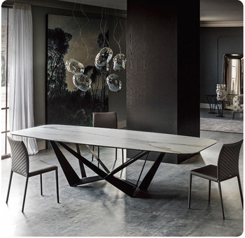 stainless steel Dining Room Set Home rectangle minimalist modern marble dining table and 6 chairs mesa de jantar muebles comedor jantar для волос