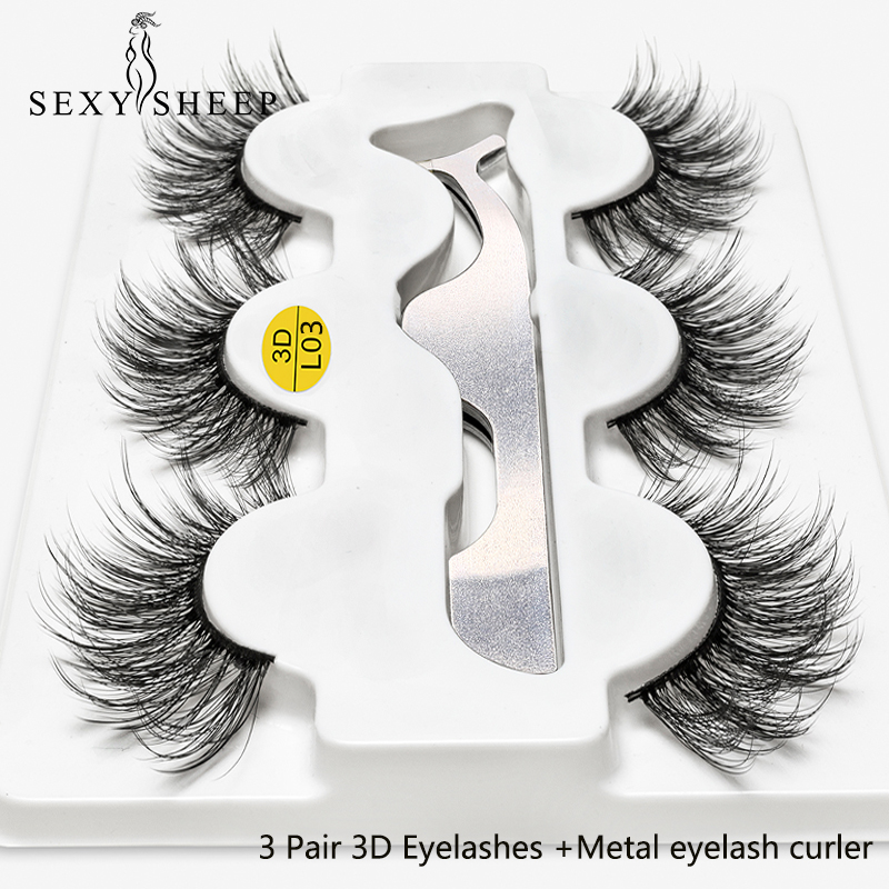 SEXYSHEEP 3pairs Faux 3D Mink Lashes Set Natural Long False Eyelashes Dramatic Volume Fake Lashes Makeup Extension Eyelashes