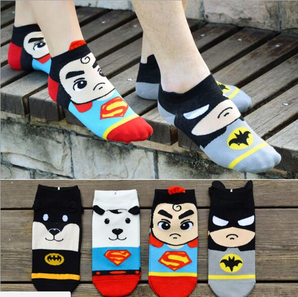 Recommend !! 12Pcs cartoon socks spring funny sock cute superman cotton short socks Free shipping SM884