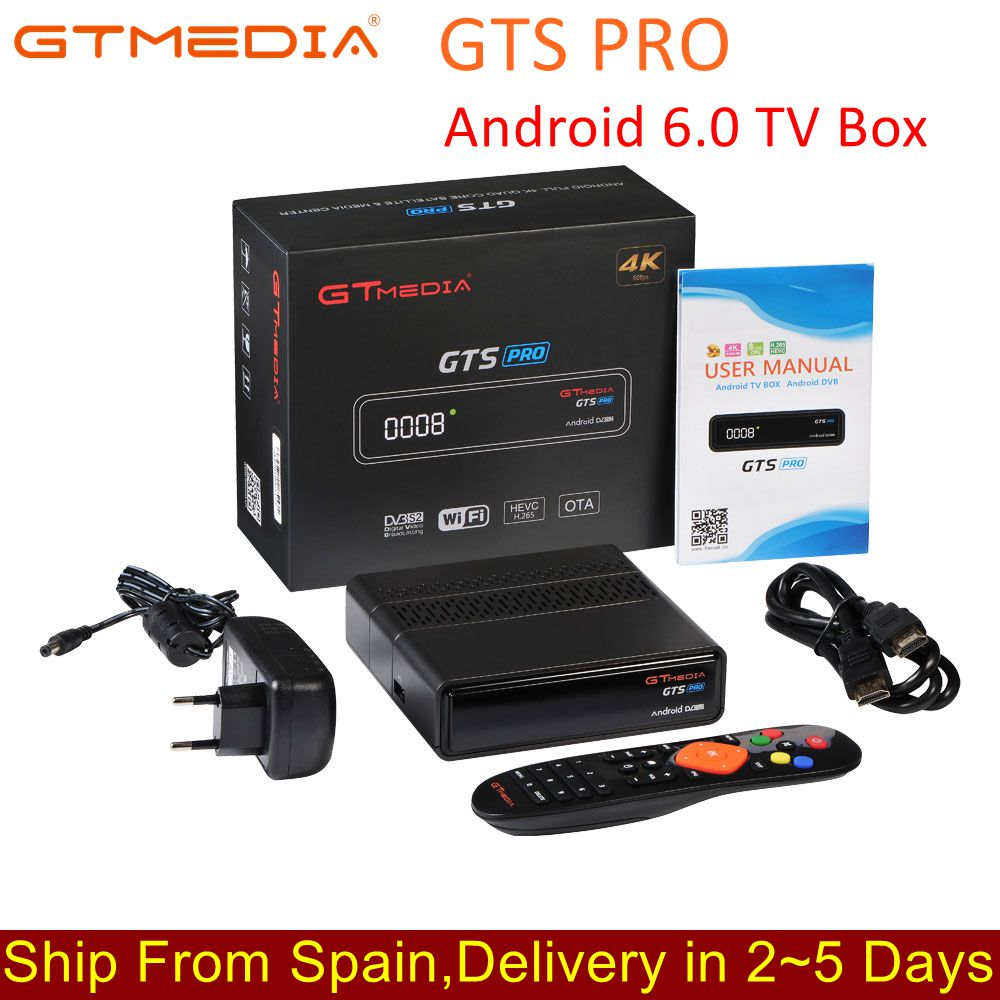 IPTV GTmedia GTS PRO Android 6 0 TV BOX+DVB-S/S2 Smart TV BOX Built-In WiFi  HD 4K Remote Control Satellite Receiver Set Top Box