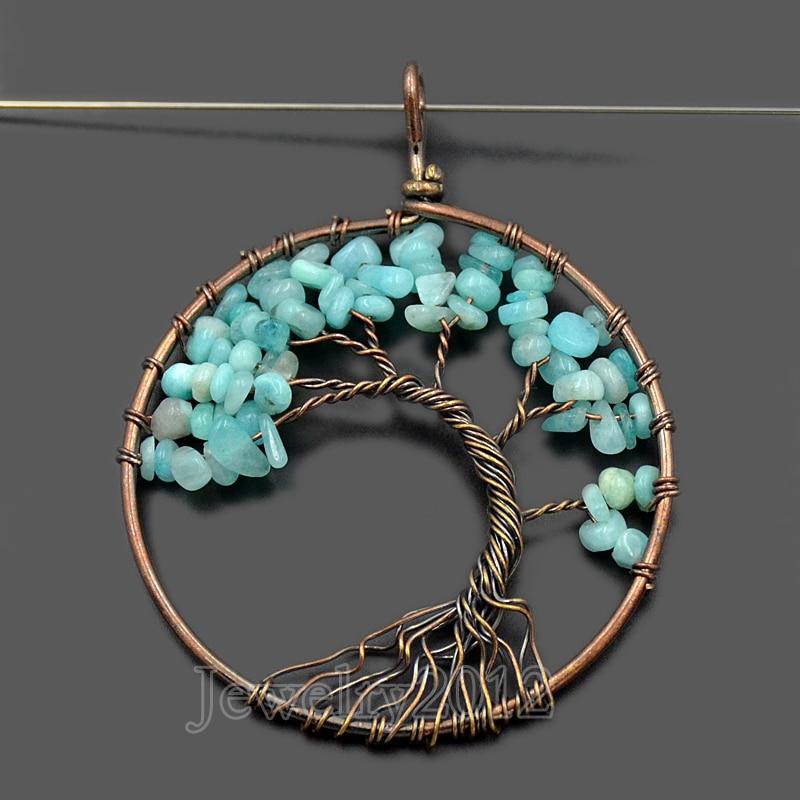 10pcs/lot Natural Gem Stone Tree Of Life Chips Bead Healing Reiki Peru Amazonite Pendant Necklace Wholesale