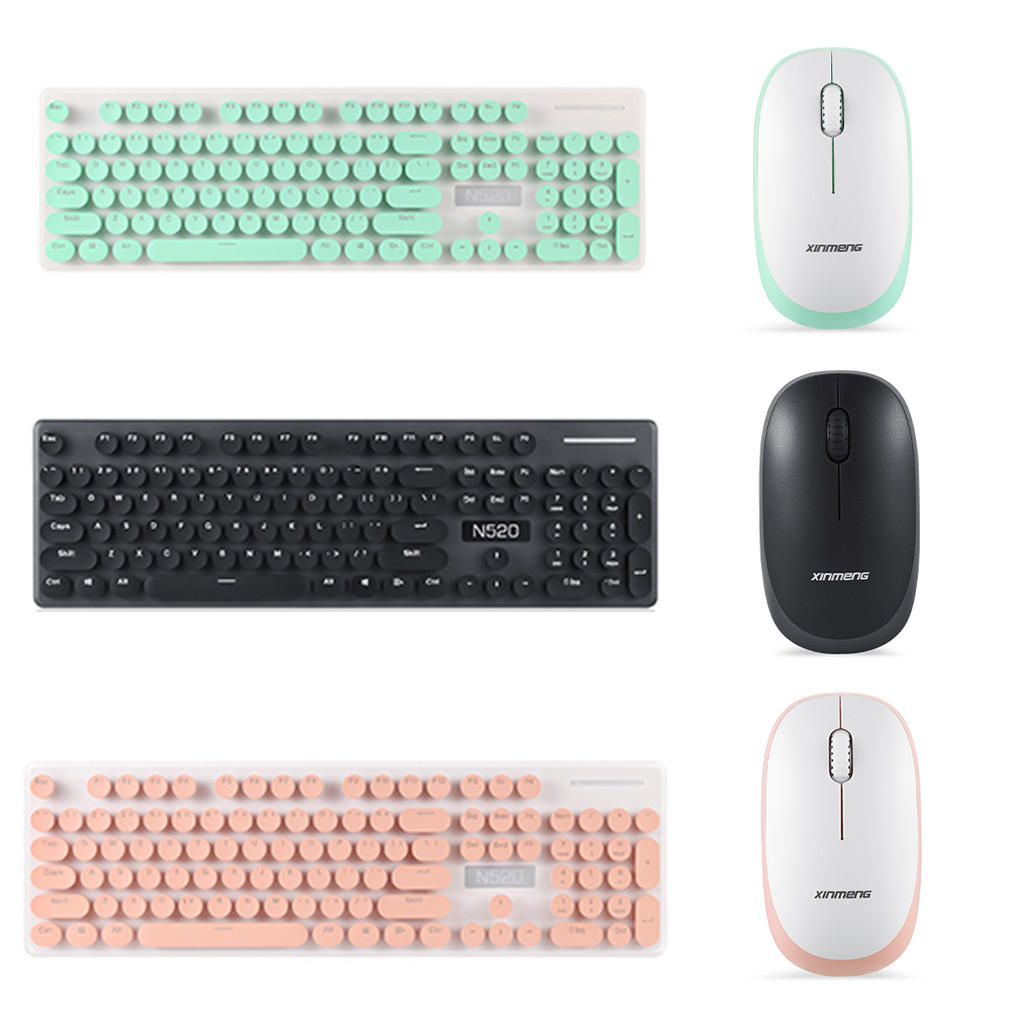 Image 2 - N520 Punk Robot Wireless Keyboard And Mouse Set Round Key Cap For Computer Teclado Sem Fio For Smart TV Laptop Computer PC Gamer-in Keyboard Mouse Combos from Computer & Office