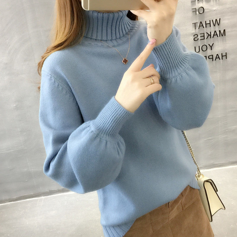 Blue Green Winter Sweater Women Knit Lantern Sleeve Sweater Female Loose Oversize Pullover Knitted Jumper