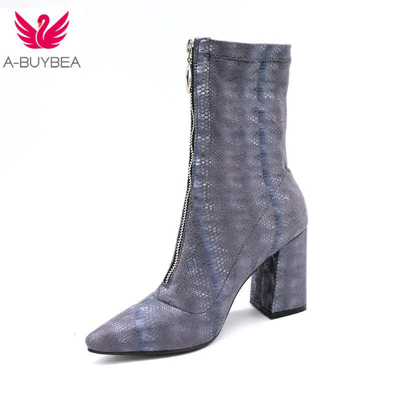 2018 Spring Autumn Fashion Women Shoes High Square heel Ankle Boots Stretch Fabric Pumps Mujer Slip On Shoes Women Sock Boots