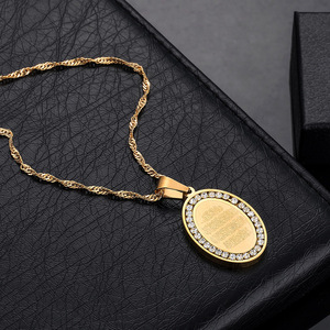 Image 4 - Мужские подвески из нержавеющей стали золотого цвета, овальные Стразы, ожерелье с амулетом, мусульманские украшения, подарок