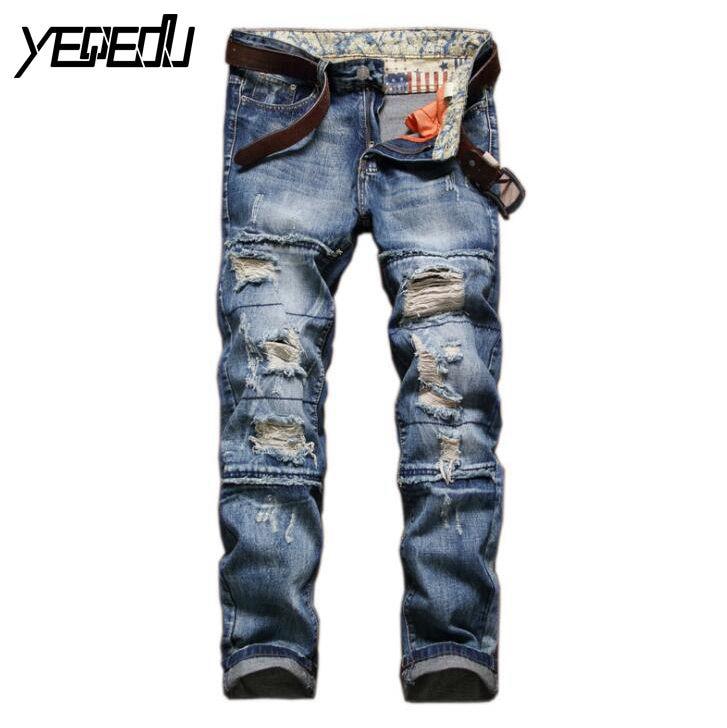 #3420 Biker jeans men Vaqueros hombre Famous brand Straight Mens ripped jeans Denim biker Vaqueros Elasticos hombre Distressed 2017 fashion patch jeans men slim straight denim jeans ripped trousers new famous brand biker jeans logo mens zipper jeans 604
