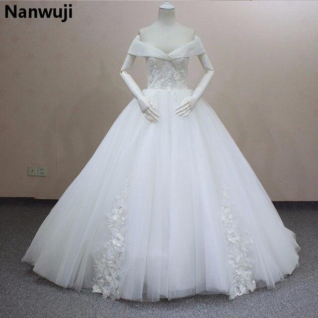 2016 Real Sample Vestidos De Novia Boat Neck Appliques Wedding Dress ...