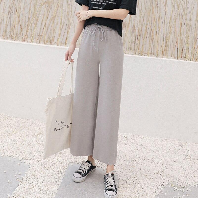 Ice Silk Knitting   Wide     Leg     Pants   2019 New Spring Summer Women High Waist Loose Fashion Simple Casual Nine-point   Pants   Female