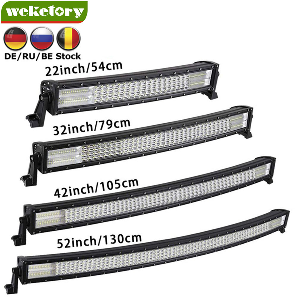 Weketory 22/32/42 pouce Courbe LED Bar Quad Rangée LED Travail Light Bar pour Tracteur Bateau OffRoad 4WD 4x4 Voiture Camion SUV ATV