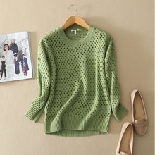 2017 Colorful Women s Slim fitting Pullovers O neck Full Sleeve Sweater 100 Pure Cashmere Hollow