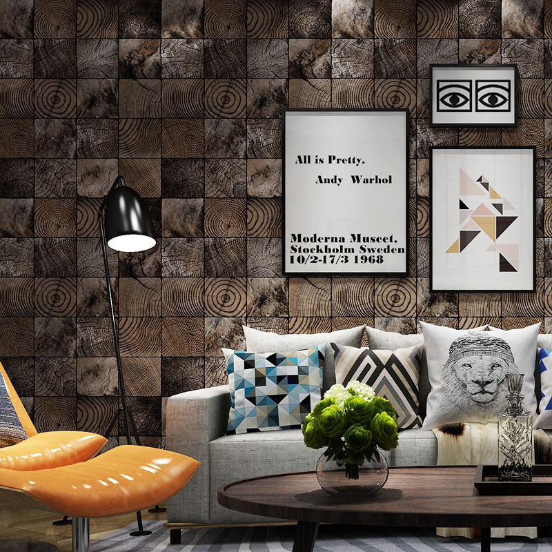 High Quality Retro Nostalgic PVC Waterproof Wallpaper Home Decor Papel De Parede 3D Wood Grain Lattice Vinyl Wall Paper Rolls vinyl pvc wood wallpaper roll 3d effect retro decorative cork plaid wine box backdrop wallpaper papel de parede madeira