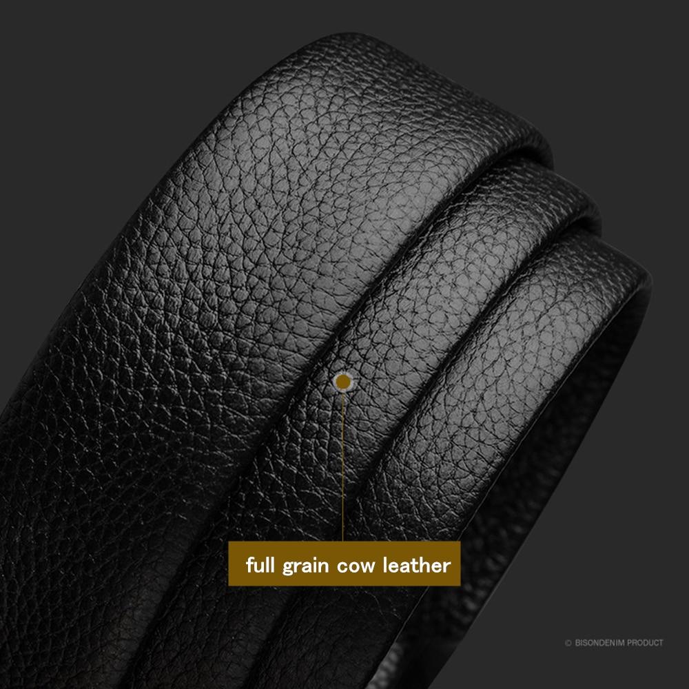 Image 3 - BISON DENIM Genuine Leather Male Belt Black Luxury Strap Belts for Men Cowskin Classic Fashion Pin Buckle men belt N71396Mens Belts   -
