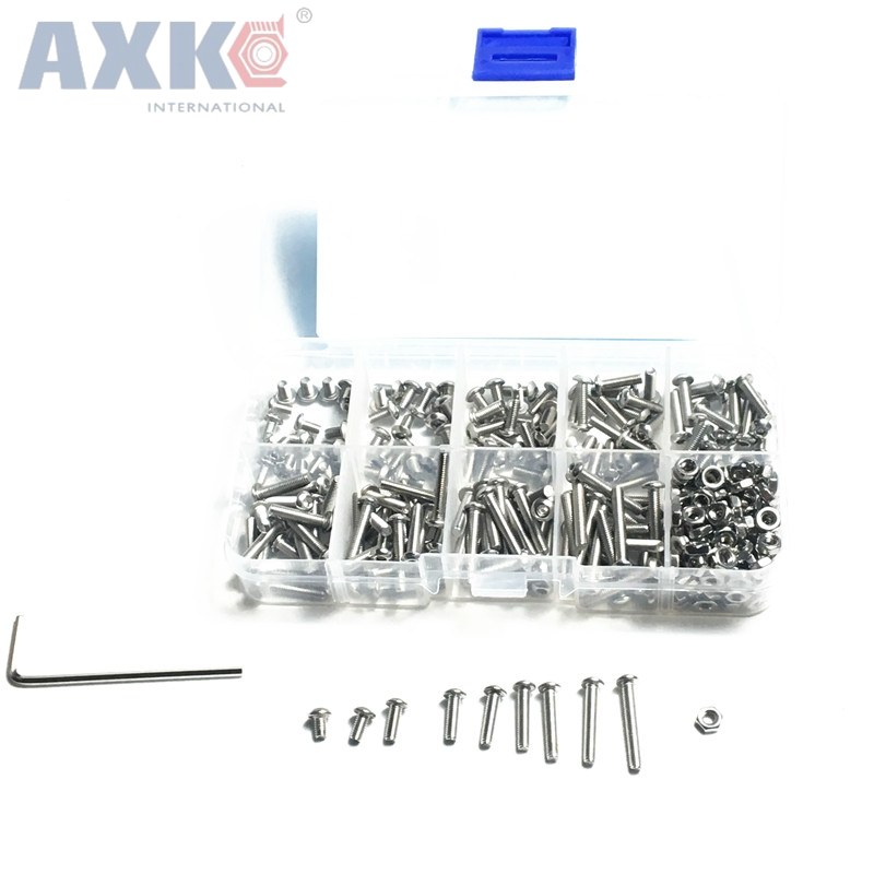 340PCS Lot M3 Button Head Hex Socket Screw Bolt Nut Stainless Steel SS304 M3 Screws Nuts Assortment Kit Fastener Hardware in Screws from Home Improvement