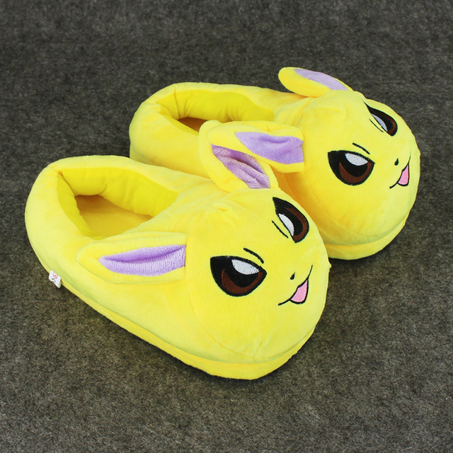 "11"" 28cm Anime Cartoon Pikachu Eevee Sylveon Espeon Poke Ball Plush Slippers Stuffed Plush Home Shoes for Children Women Men"