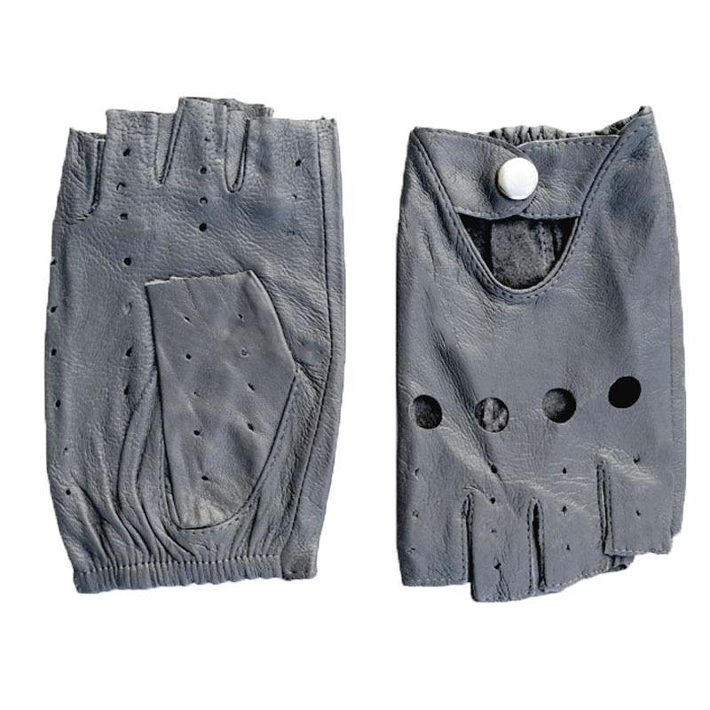 Кожаные перчатки с полупальцами женские тонкие короткие без подкладки весна, лето и осень для езды на мотоцикле и вождения