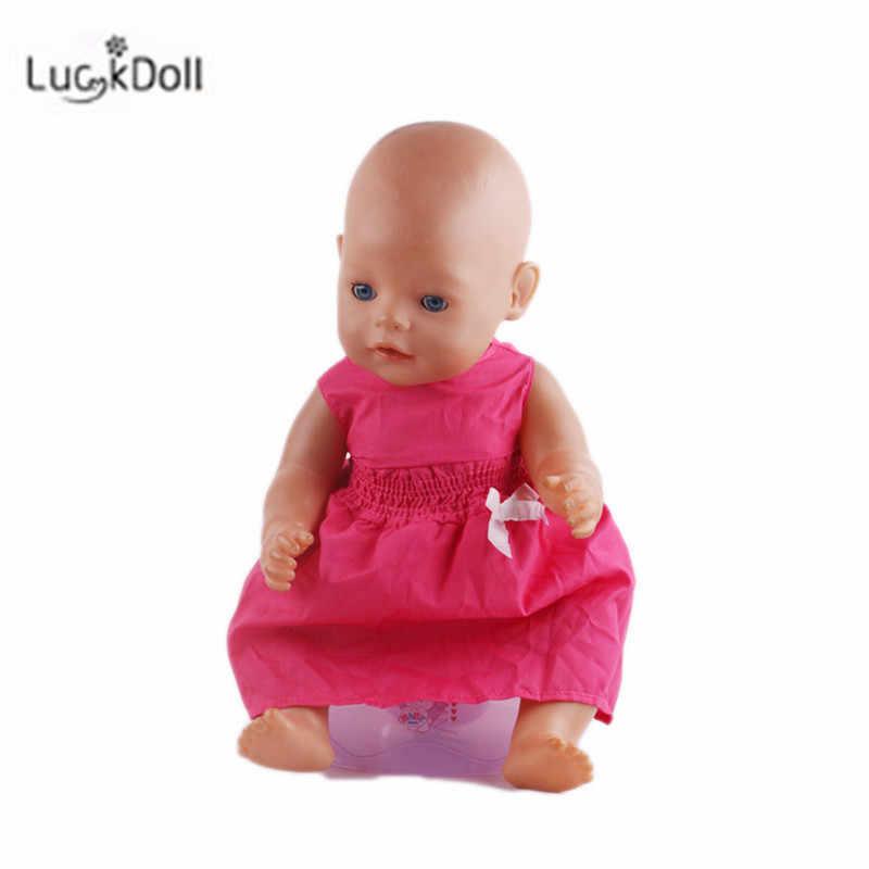 LUCKDOLL موضة صيف جديد فستان صالح 18 بوصة الأمريكية 43 سنتيمتر ملابس دمى الطفل اكسسوارات ، بنات اللعب ، جيل ، هدية عيد ميلاد