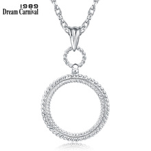 DC1989 Band New Round Necklace Reading Glass Pendant For Purpose 2x Magnifying Cute Look Platinum &Gold Plated