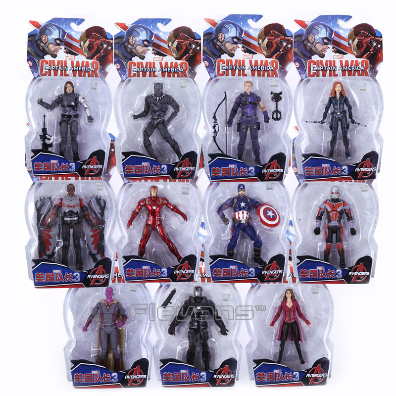 Legends Avengers Civil War Captain America Iron Man Black Widow Black Panther Scarlet Witch Ant Man PVC Action Figure Toy captain america civil war iron man 618 q version 10cm nendoroid pvc action figures model collectible toys