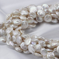 Coin Cultured Freshwater Pearl Beads Statement Jewelry Natural White 13mm Hole Approx 0 8mm Sold Per