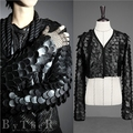 PU leather costume black jacket outwear Slim leopard casual coat dance performance dress show party nightclub bar DJ DS