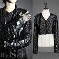 Traje de couro PU jaqueta preta casaco outwear Magro leopard casual vestido espetáculo de dança mostrar partido discoteca bar DJ DS
