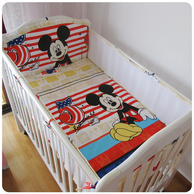ФОТО Promotion! 5PCS Mesh Mickey Mouse baby bedding set pillow bumper bed sheet crib bedding set sheet Kids Bed Sets (4bumpers+sheet)